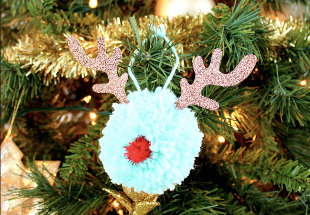 Pompom Reindeer Christmas Decoration