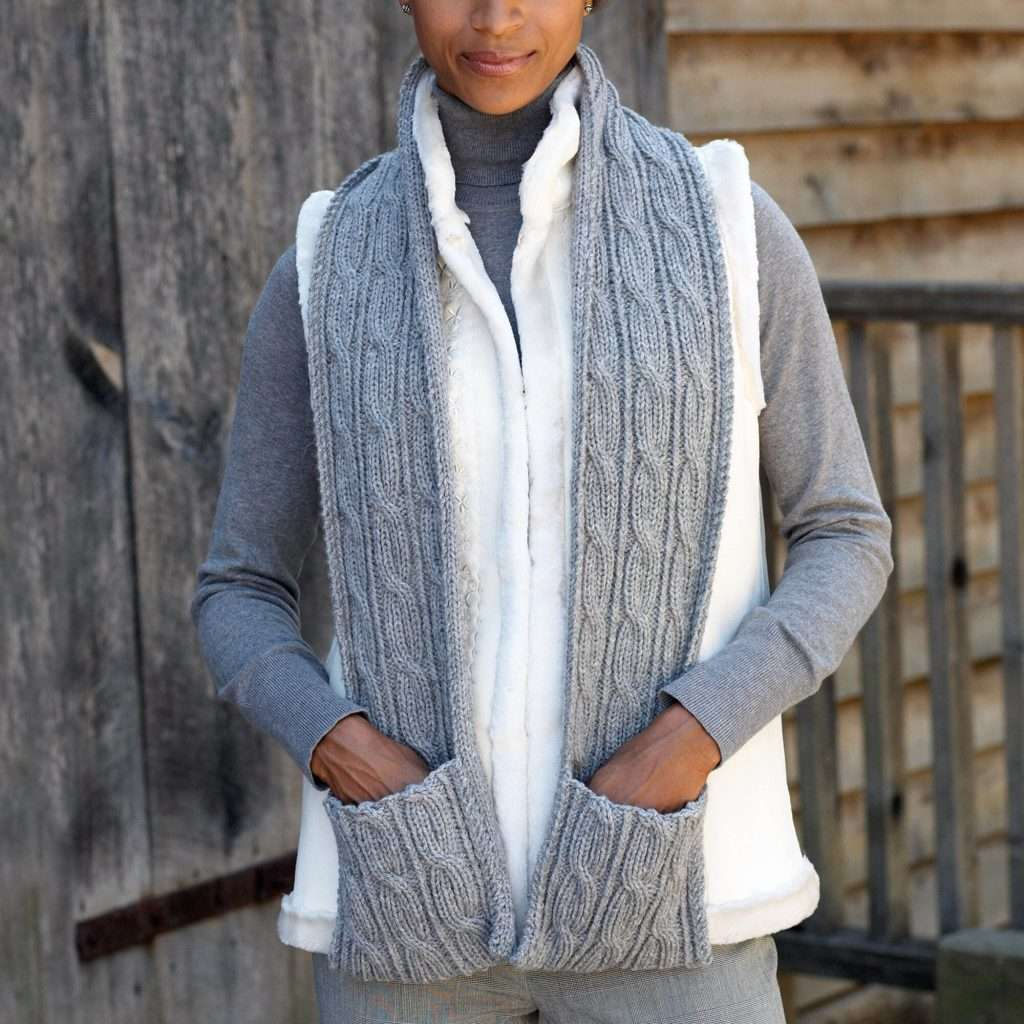 Diamond Cabled Scarf with Pockets by Marriana Designs