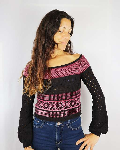 Mailen Crop sweater by Cecilia Losada in black and pink