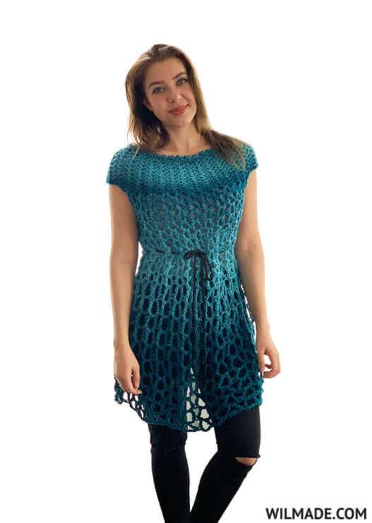 Crochet Poncho Dress by Wilmade