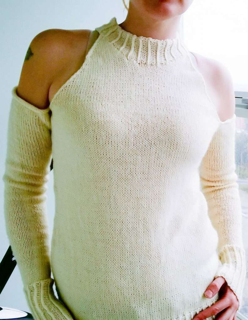 Low Winters Sun vaccine sweater pattern by Artesanitarium